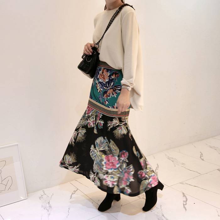 Two-Tone Floral Skirt