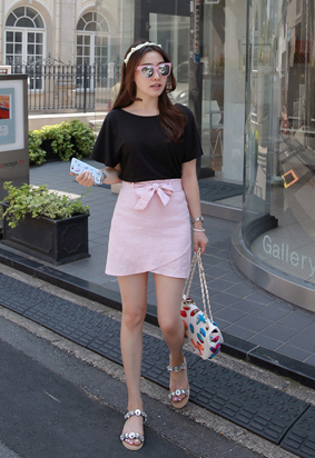 Belted Crossover Skirt