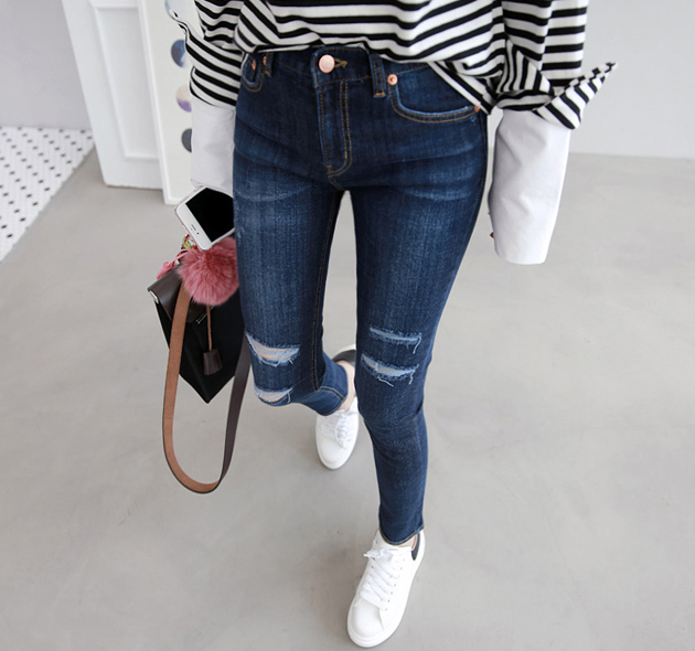 Slit Detailed Skinny Jeans