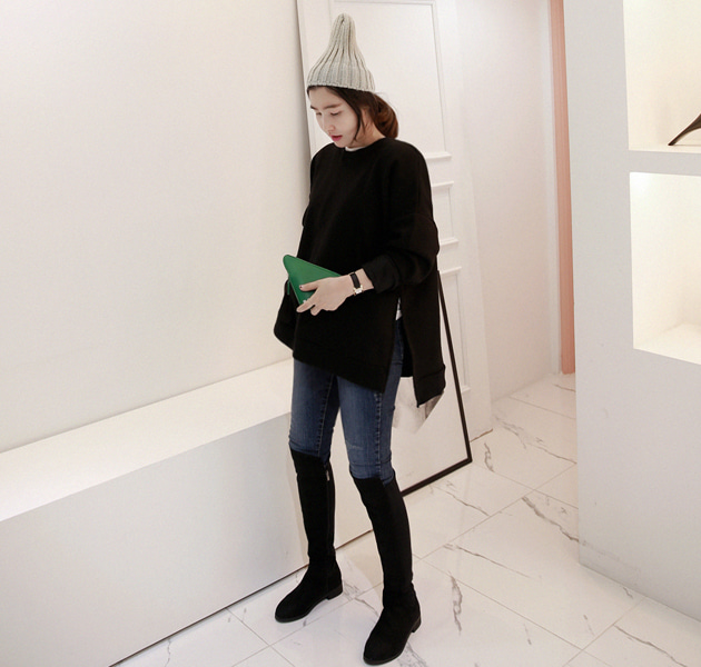Side Slit Loose Fit Sweatshirt