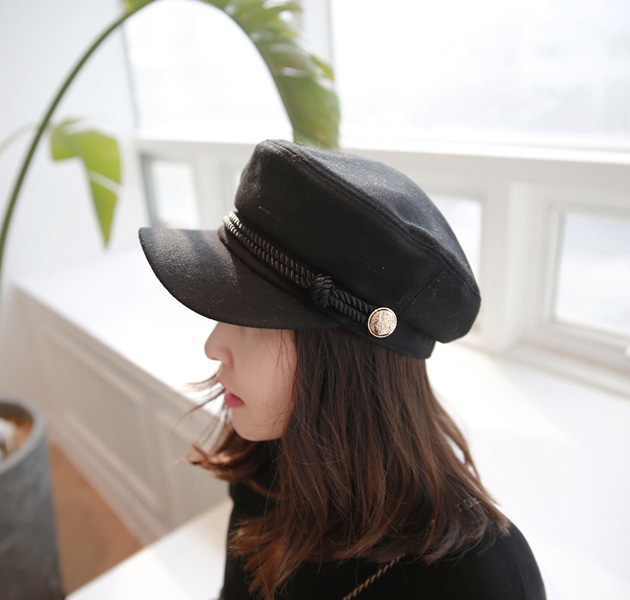 Embossed Button Detail Newsboy Cap