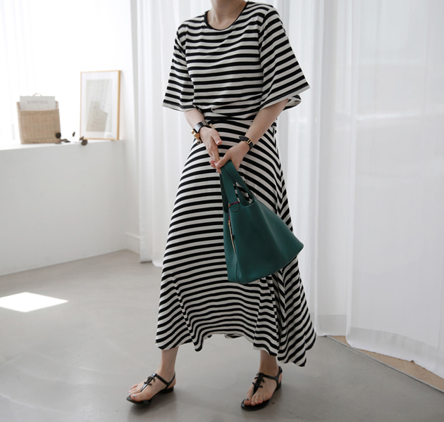 Striped T-Shirt And Long Skirt (Set)