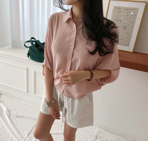 Dolman Sleeve Button-Front Blouse