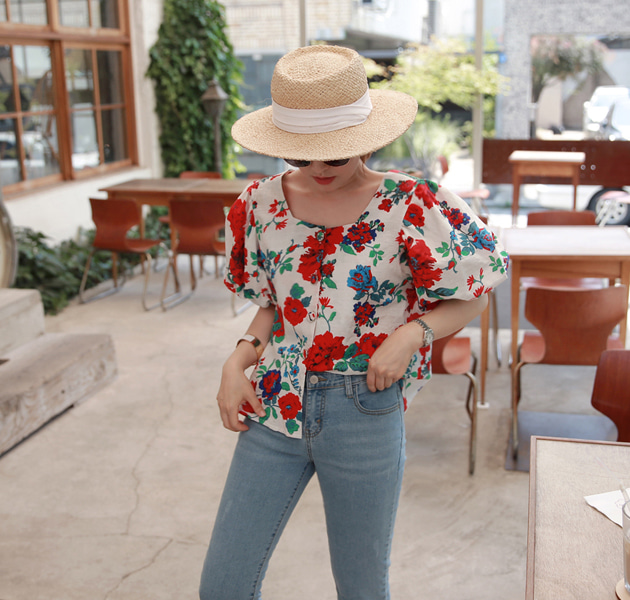 Puff Sleeve Button-Front Floral Blouse
