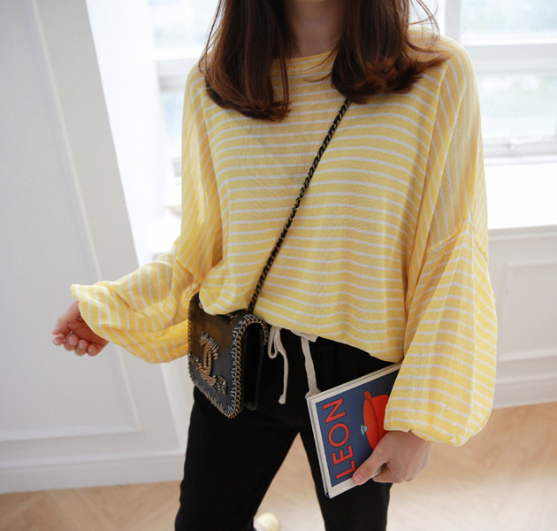 Striped Balloon Sleeve Knit Top