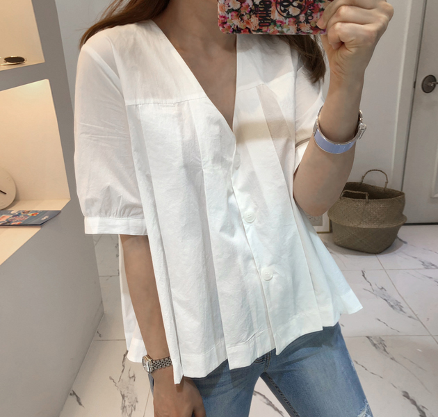 Pleated V-Neck Button-Front Blouse