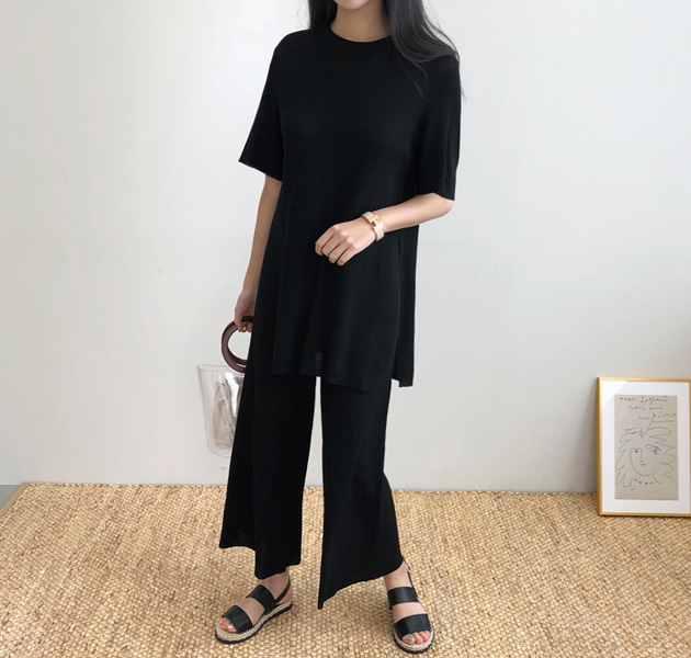 Knit Longline Top And Wide Leg Pants (Set)