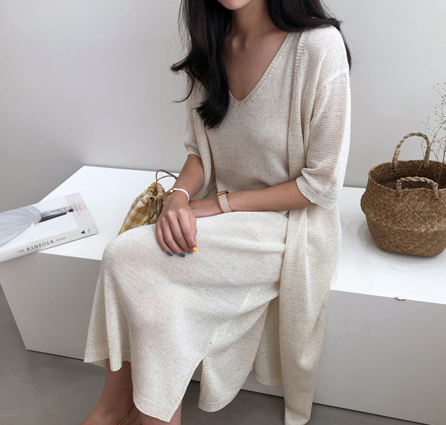 Knit Sleeveless V-Neck Dress And Long Cardigan (Set)