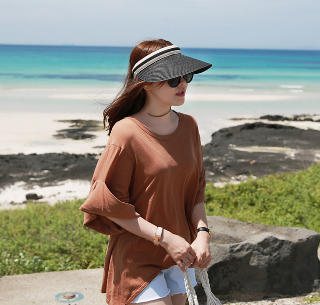 Cuffed Wide Sleeve Asymmetrical T-Shirt