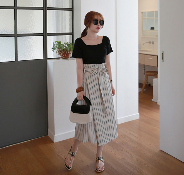 Belted Straight Cut Striped Skirt