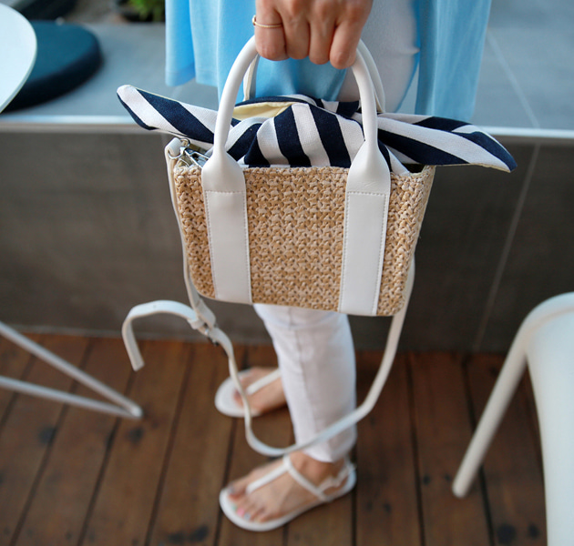 Striped Self-Tie Strap Straw Square Bag