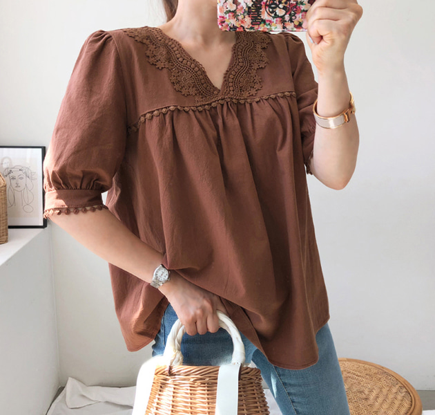 Floral Lace Trim V-Neck Blouse