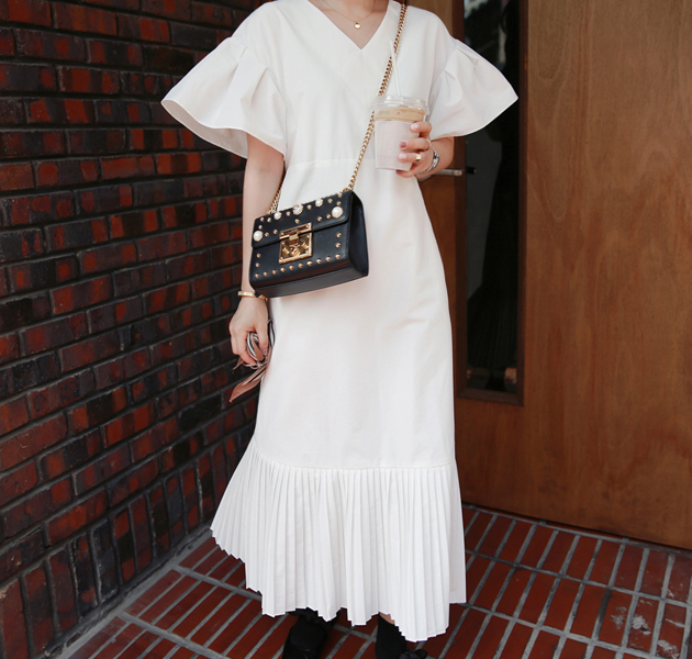 Pleated Hem V-Neck Dress