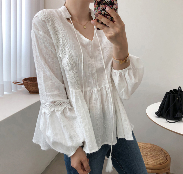 Lace Trimmed Tassel Accent Blouse