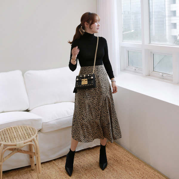 Mid-Calf Leopard Skirt
