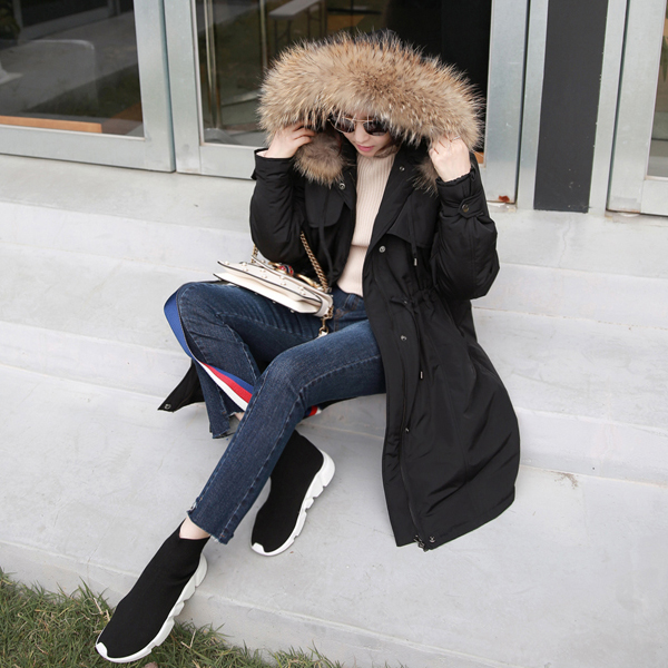 Detachable Fuzzy Hood Trim Layered Coat