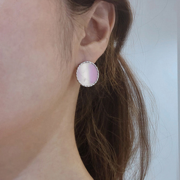 Flat Circular Stud Earrings