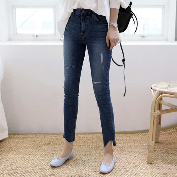 Asymmetric Hem Distressed Slim Jeans