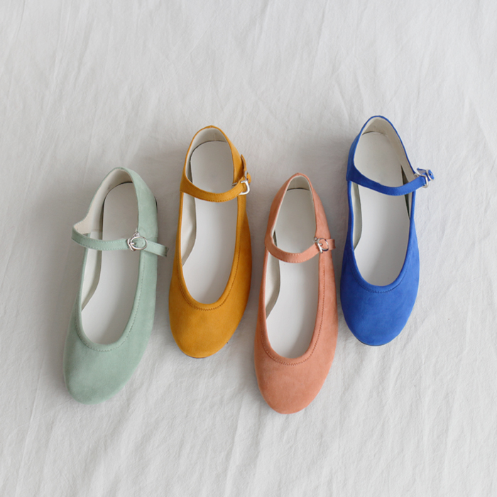 Faux Suede Strapped Flats