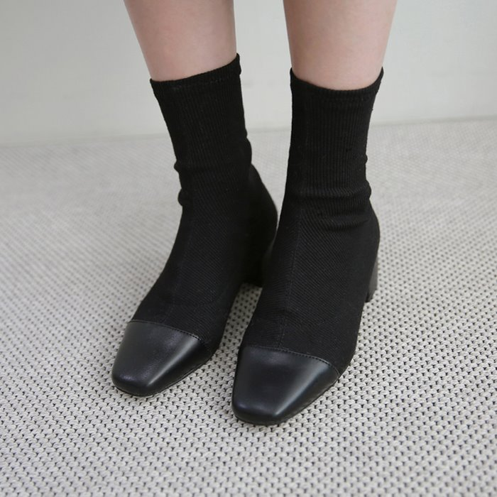 Square Toe Heeled Sock Boots