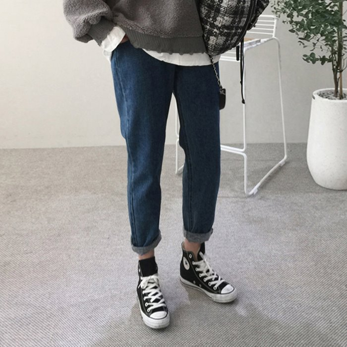 Fleece Lined Loose Fit Jeans