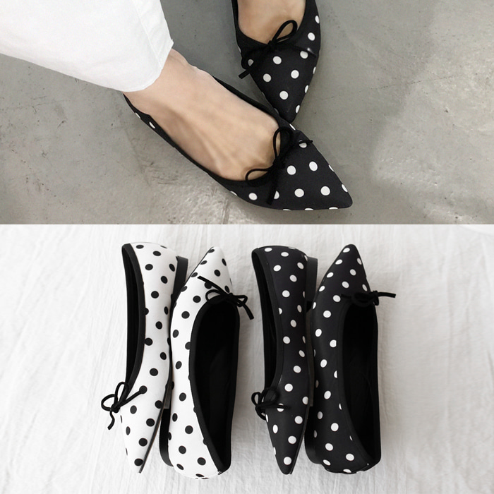 Polka Dot Pointed Toe Flats