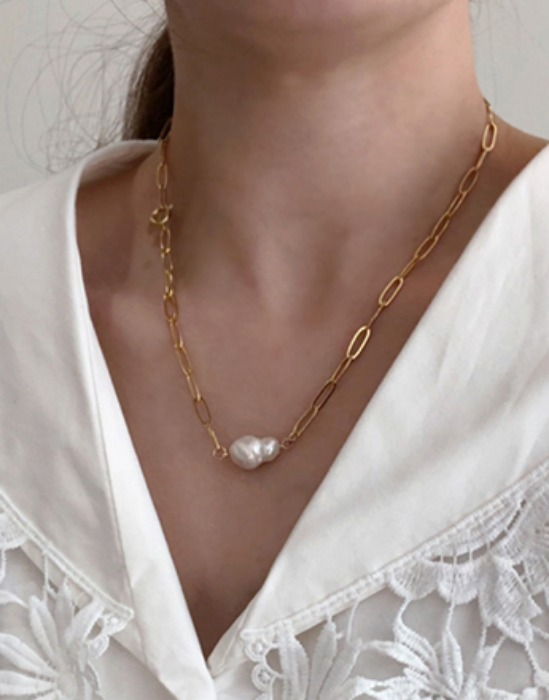 Freshwater Pearl Pendant Chain Link Necklace