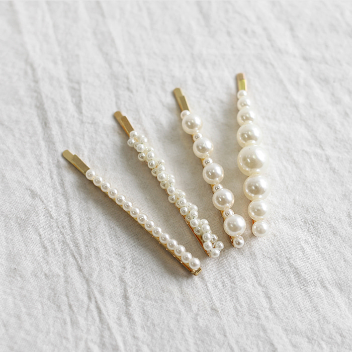 4-Piece Pearl-Embellished Gold-Tone Hair Pin (Set)