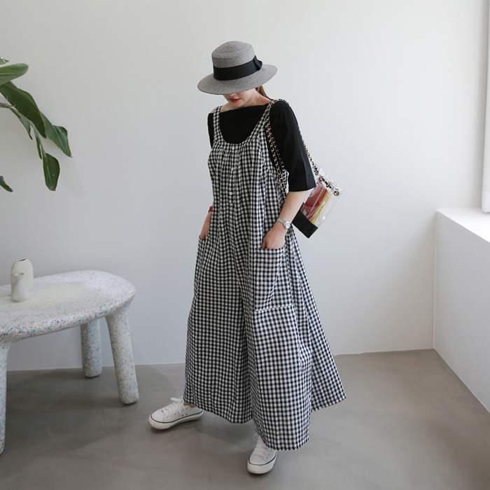 Wide Leg Gingham Check Jumpsuit