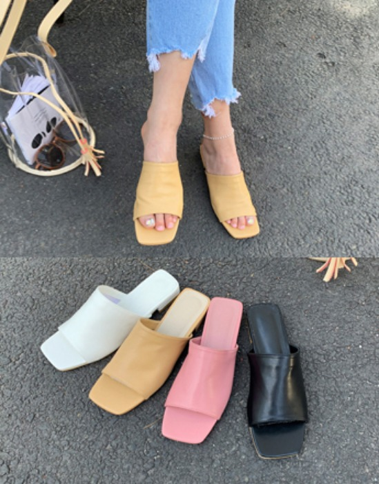Wide Band Low-Heeled Mules