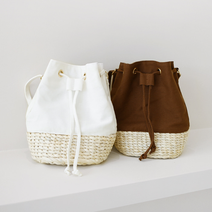 Contrast Bottom Bucket Bag
