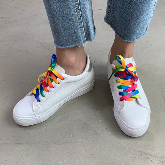 Faux Leather White Sneakers