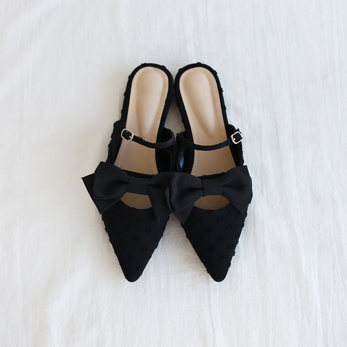 Bow Accent Pointed Toe Mules