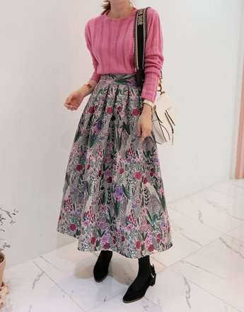 Floral Pleated Midaxi Skirt